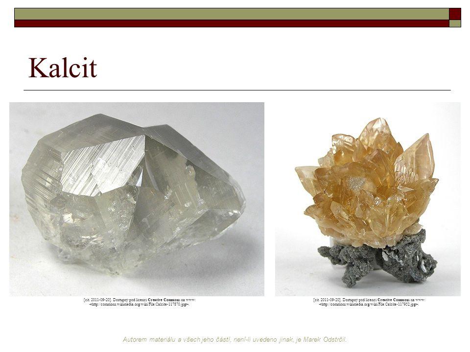 Kalcit [cit. 2011-09-20]. Dostupný pod licencí Creative Commons na www: <http://commons.wikimedia.org/wiki/File:Calcite-117870.jpg>.